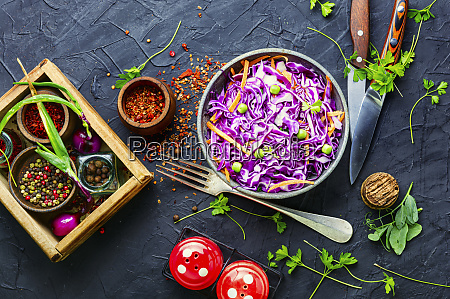 salad with red cabbage and carrots