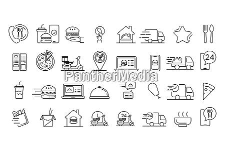 food delivery service icons gesetzt gliederungssatz