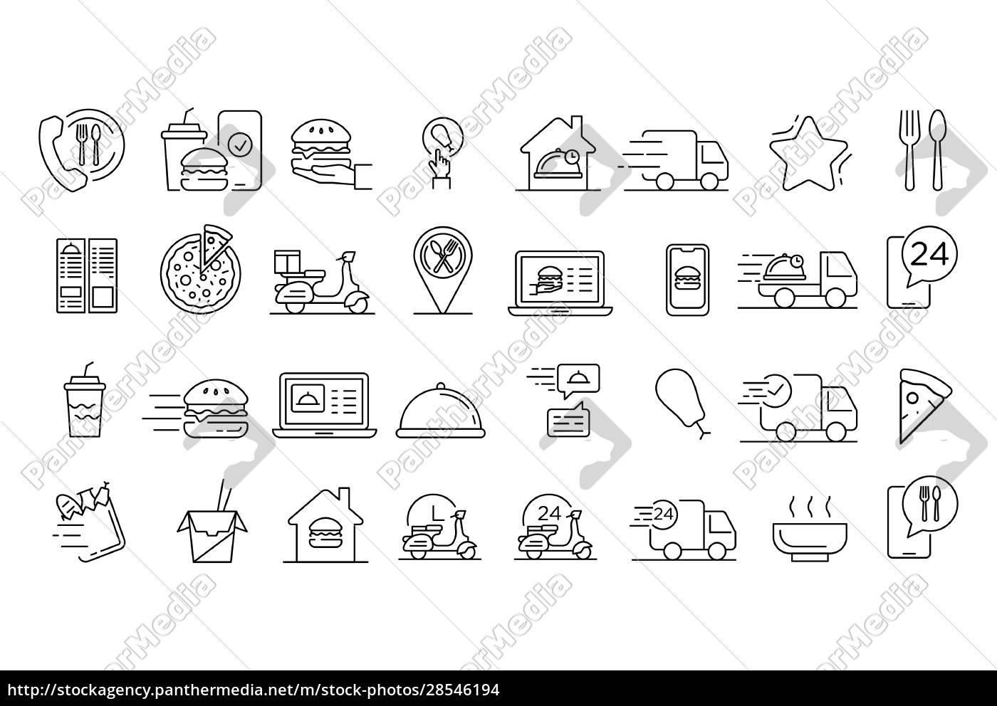 food, delivery, service, icons, gesetzt., gliederungssatz - 28546194