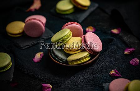 bunte franzoesische oder italienische macaron