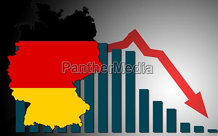 wirtschaftskrisenkonzept mit deutschlandkarte