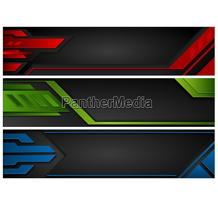 set of abstract technology banners