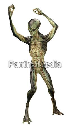 3d rendering eines gruenen aliens isoliert