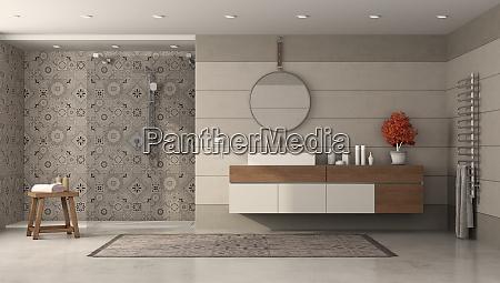 modernes badezimmer mit dusche und waschbecken