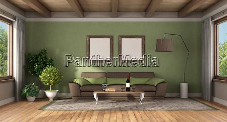 wohnzimmer im klassischen stil mit braunem