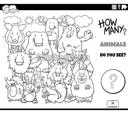counting animals educational task coloring book