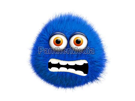 blaues pelziges monster