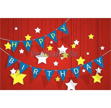 decorative pennant garland happy birthday greeting