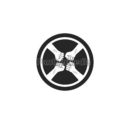 erfolg zweisamkeit hand icon logo vektor