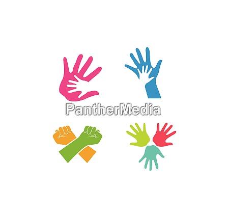 hand care logo template vektor symbol