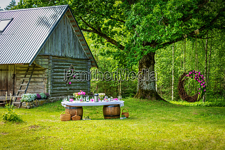 beautiful wedding banquet buffet table and