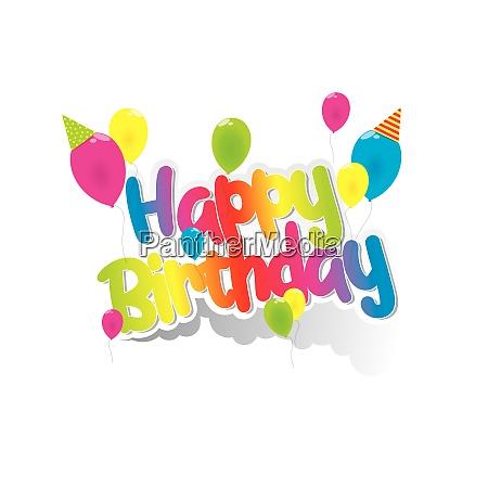 ihappy birthday greeting card with rainbow