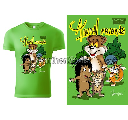 t shirt design with cartoon animals
