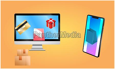 online shop von smartphone und desktop