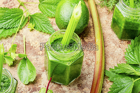 healthy green smoothie in jar