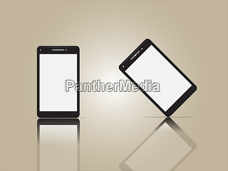 realistic vector smart phones on background