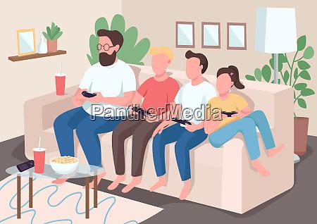 familie bonding flache farbe vektor illustration