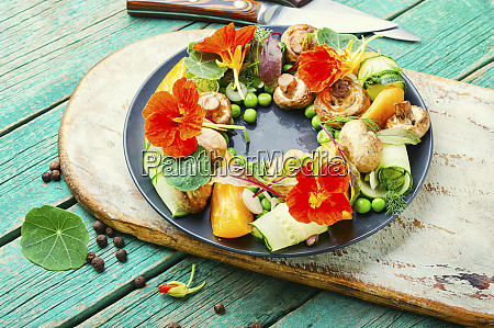 summer vegetable salad with flowers
