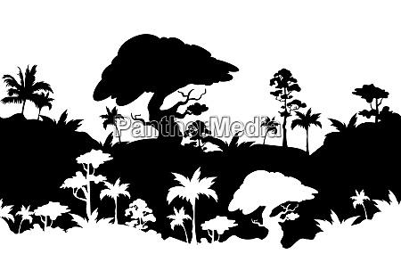 dschungel landschaft schwarze silhouette nahtlose grenze