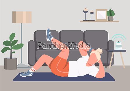 cartoon wohnung illustration fitness sport training