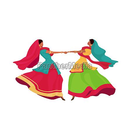 indische maedchen in sari flache farbe
