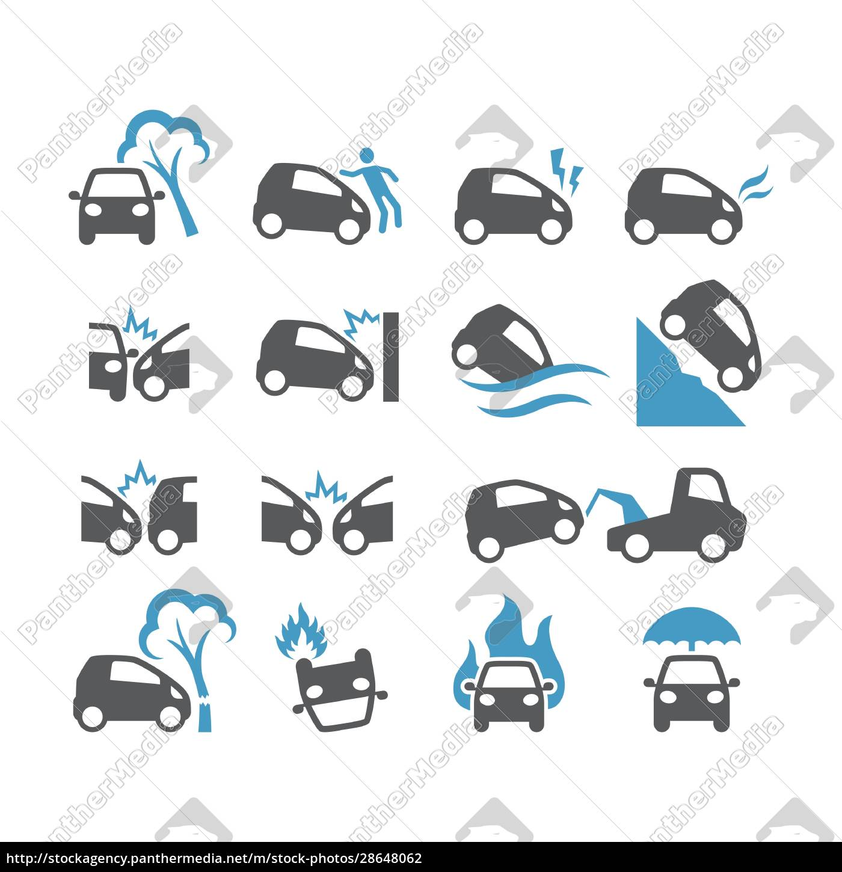 car, accident, , insurance, black, vector, icon - 28648062