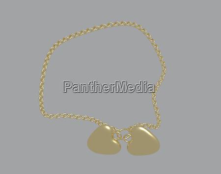 goldene kette mit herzfoermigem anhaenger