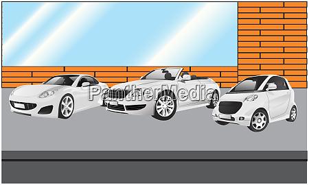 mehrere autos vor dem geschaeft geparkt