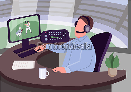 sport kommentator flache farbe vektor illustration