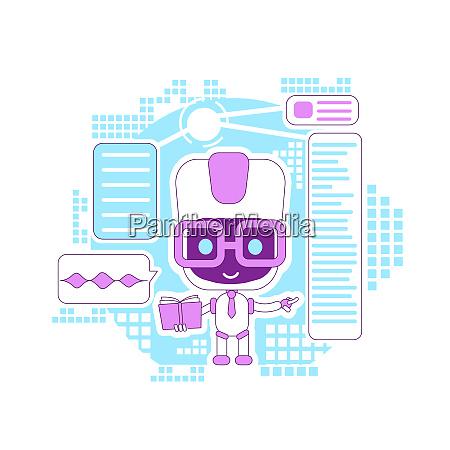 lernassistent informationsbot duennlinienkonzept vektor illustration