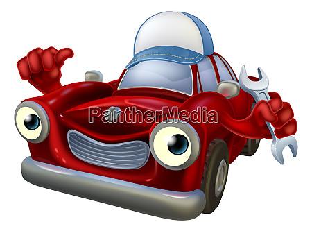 cartoon auto mechaniker maskottchen