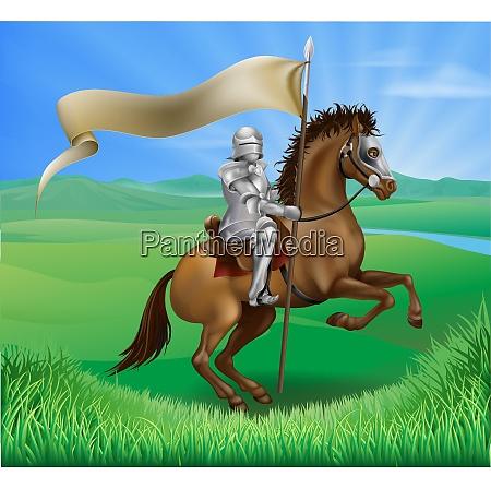 ritter und pferd mit banner