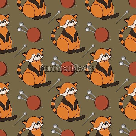 herbstmuster mit tieren roter panda charakter