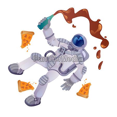 kosmonaut mit lebensmittel cartoon vektor illustration