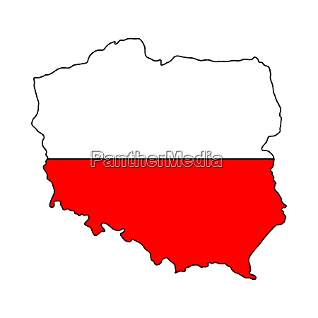 polish map flag isolated on white