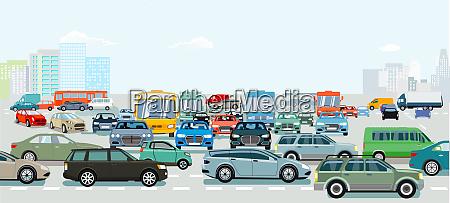 stau an der strassenkreuzung illustration