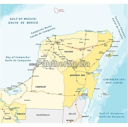 strassen und verwaltungsvektorkarte der halbinsel yucatan