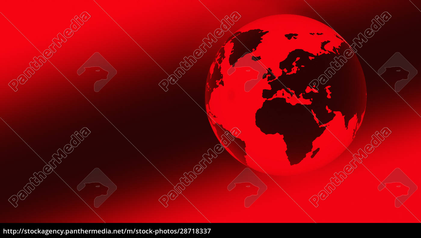 digital, generierter, roter, globus - 28718337