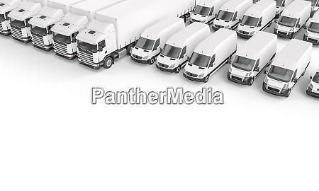 weisse lastkraftwagen unterschiedlicher groesse