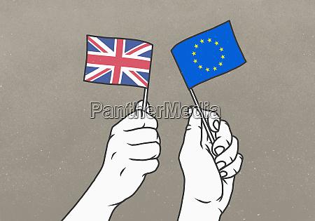 haende schwenken kleine britische und eu