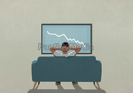 man on sofa watching stock market