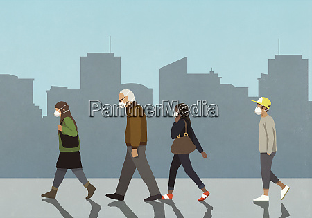 pedestrians in flu masks walking in