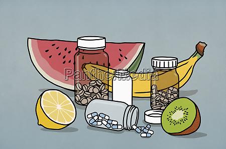 stillleben, obst, und, ergänzung, medikamentenflaschen - 28722827