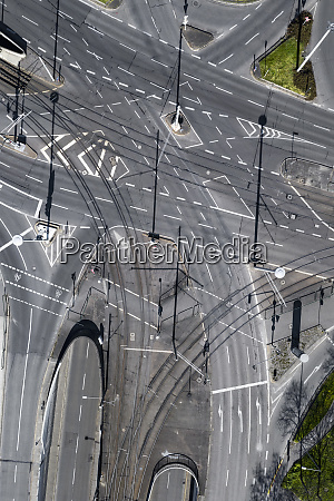 aerial view vacant intersecting city streets
