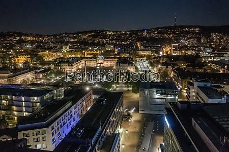 illuminated cityscape at night stuttgart baden