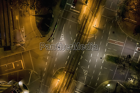 aerial view empty city streets at