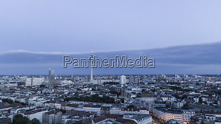 berlin television tower and cityscape at