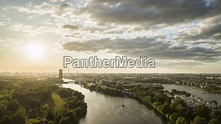 sunset sky over berlin and spree