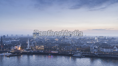 tranquil duesseldorf cityscape and rhine river