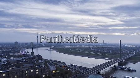 duesseldorf cityscape and rhine river north